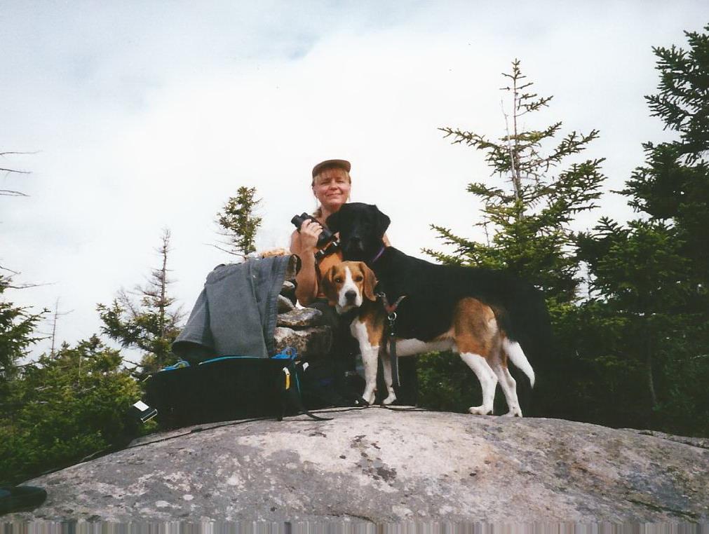 Kobi & Maggie on a hike with Mom.