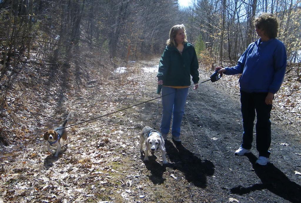 My sisters Lynn & Karen with Kobi and Karen's beagle Susie.