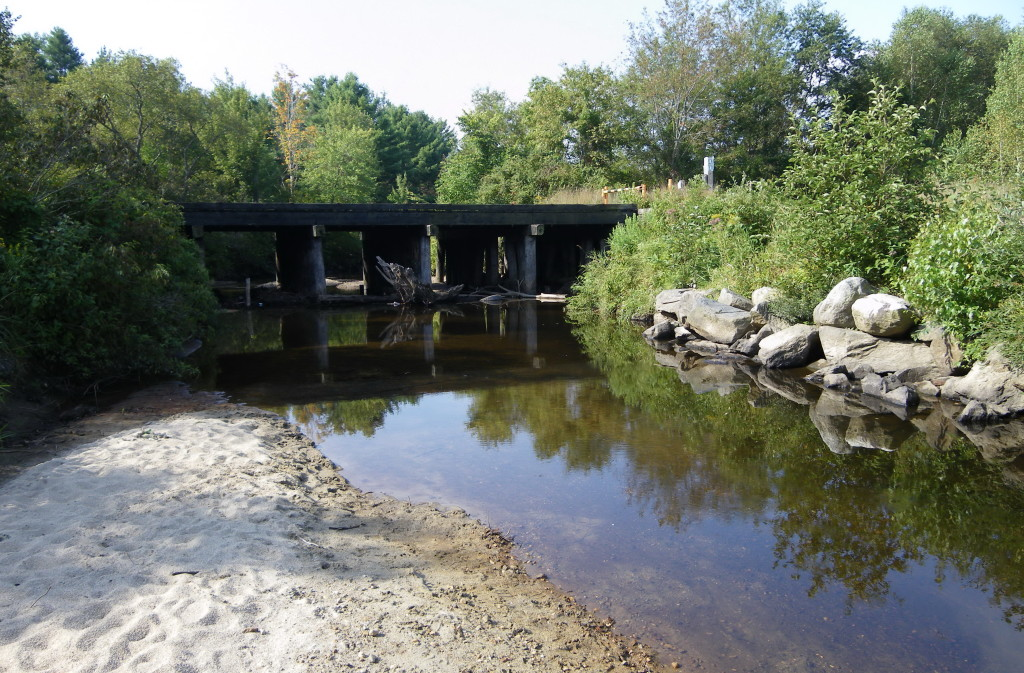 The rail trail bridge over the river.
