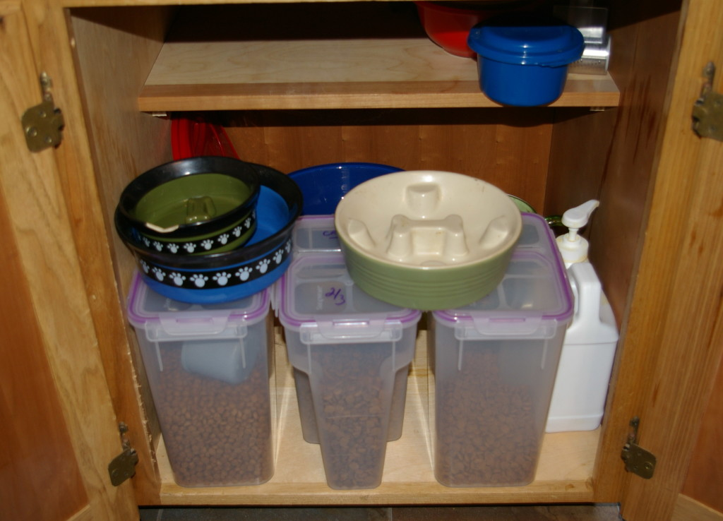 We can also store their bowls and other supplies in the same cabinet.