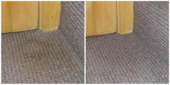 Before and after of a stain on the carpeted stairs!
